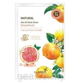 The SAEM Natural Skin Fit Mask Sheet Grapefruit тканевая маска для лица с экстрактом грейпфрута