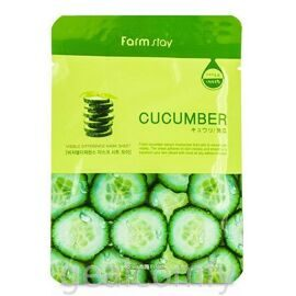 Farmstay Visible Difference Cucumber Mask Sheet маска для лица с экстрактом огурца, 1 шт